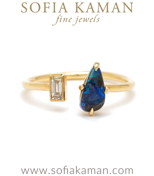 Beachy Boho Adjustable Gold Diamond Opal Ocean Inspired Stacking Ring designed by Sofia Kaman handmade in Los Angeles using our SKFJ ethical jewelry process.