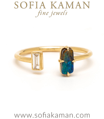 Ocean Beach Inspired Adjustable Gold Diamond Opal Fashion Stacking Ring designed by Sofia Kaman handmade in Los Angeles