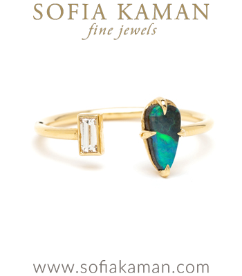 Bohemian Gold Diamond Opal Fashion Stacking Ring designed by Sofia Kaman handmade in Los Angeles