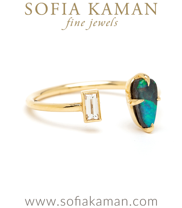 Diamond Opal Boho Stacking Ring