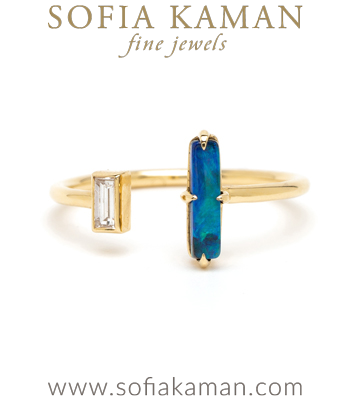 Adjustable Gold Diamond Opal Bohemian Fashion Ocean Inspired Stacking Ring designed by Sofia Kaman handmade in Los Angeles