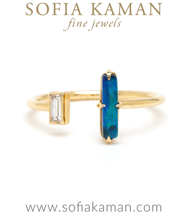 Adjustable Gold Diamond Opal Bohemian Fashion Ocean Inspired Stacking Ring designed by Sofia Kaman handmade in Los Angeles using our SKFJ ethical jewelry process. This piece has been sold and is in the SK Archive.