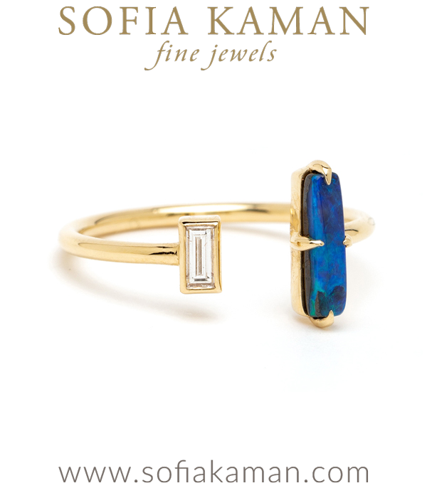Diamond Opal Adjustable Boho Stacking Ring