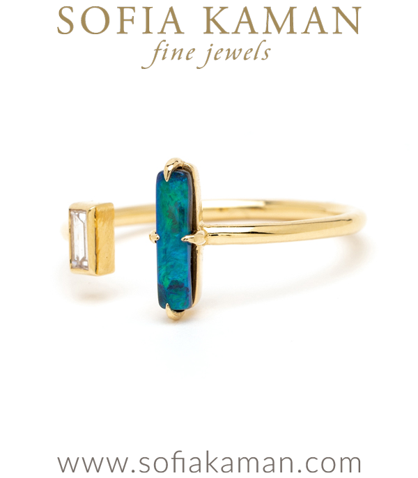 Gold Diamond Opal Bohemian Stacking Ring