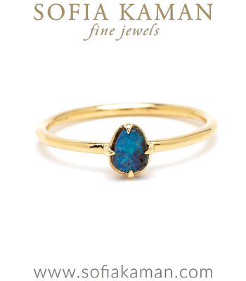 Gold Opal Petite Boulder Boho Stacking Ring designed by Sofia Kaman handmade in Los Angeles