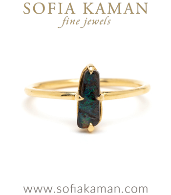 Ocean Inspired Boho Opal Boulder Stacking Ring designed by Sofia Kaman handmade in Los Angeles