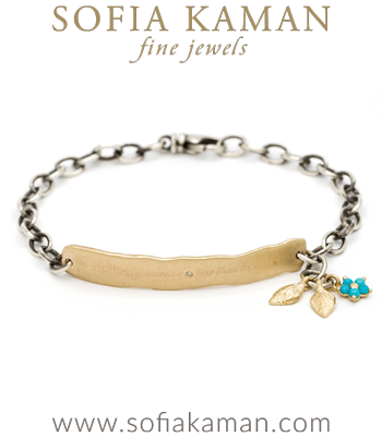 Matte Gold ID Tag Bracelet with Dangling Leaves and Turquoise Flower designed by Sofia Kaman handmade in Los Angeles