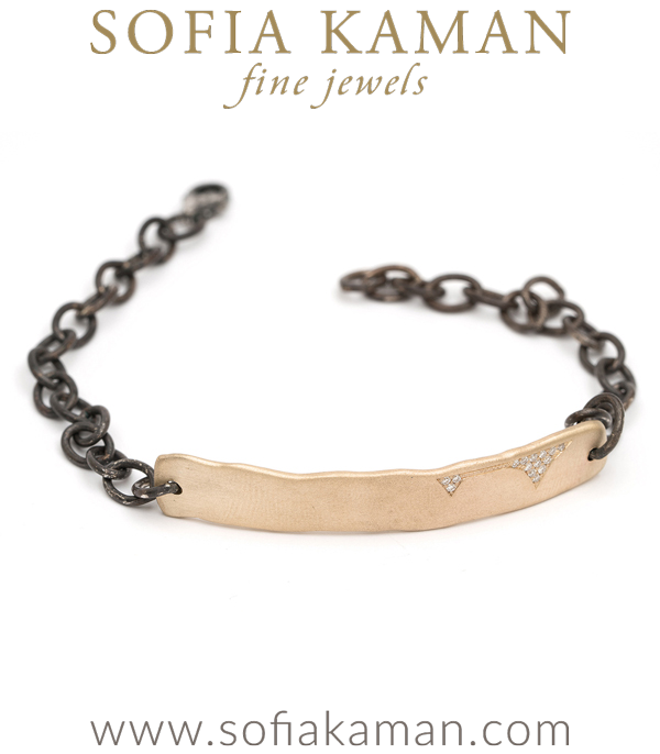 14k Matte Gold Pave Diamond Patch Bohemian ID Bracelet designed by Sofia Kaman handmade in Los Angeles using our SKFJ ethical jewelry process. This piece has been sold and is in the SK Archive.