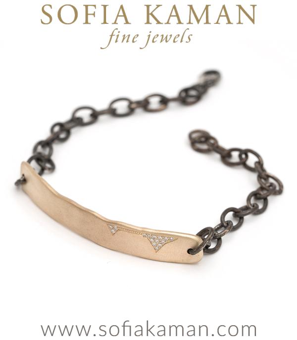Matte Gold Torn Paper Pave Diamond Id Bracelet