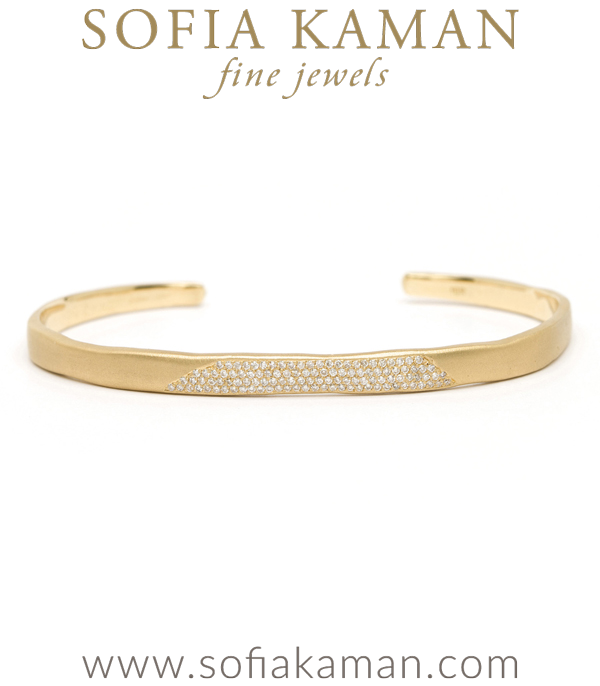 14k Matte Gold Torn Paper Edge Diamond Pave Patch Bohemian Cuff designed by Sofia Kaman handmade in Los Angeles using our SKFJ ethical jewelry process.