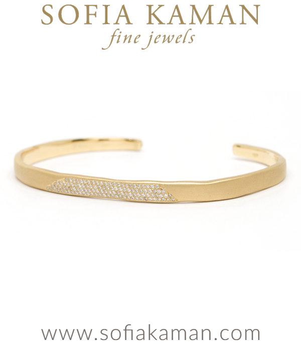 14k Matte Gold Pave Diamond Patch Cuff