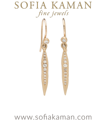 Pave Diamond Dangle Boho Bridal Earrings designed by Sofia Kaman handmade in Los Angeles