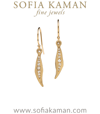 Bohemian Gold and Diamond Dangle Bridal Earrings for most Engagement Ring Styles designed by Sofia Kaman handmade in Los Angeles