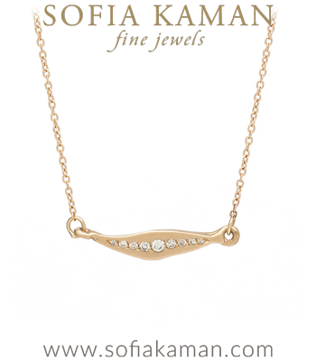 14K Gold Diamond Sideways Leaf Charm Necklace designed by Sofia Kaman handmade in Los Angeles
