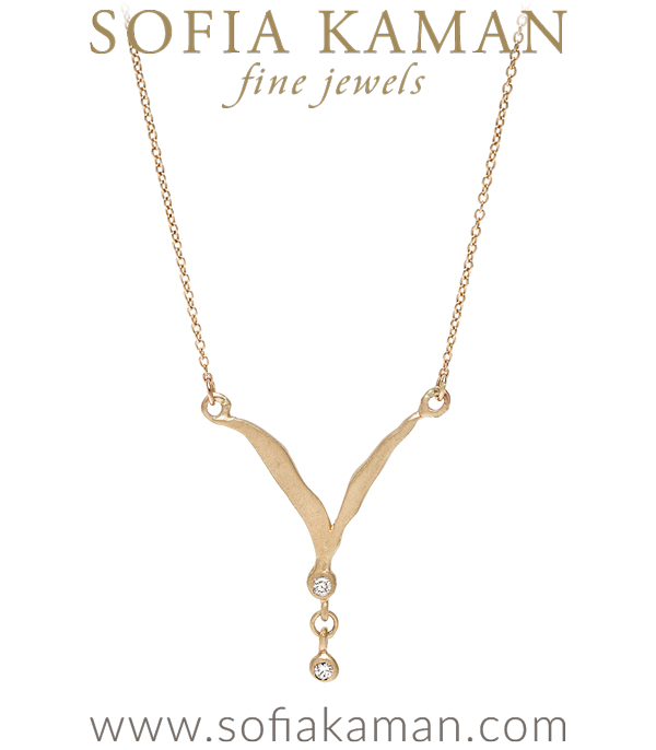 14K Matte Gold Necklaces For Women Perfect for All Engagement Ring Styles Including Antique Engagement Rings designed by Sofia Kaman handmade in Los Angeles using our SKFJ ethical jewelry process.