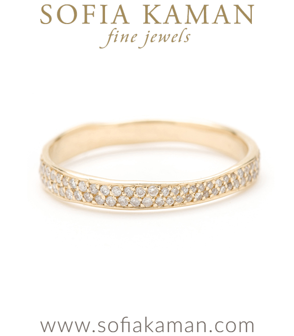 Gold Torn Paper Wedding Band With Pave Diamonds 3mm