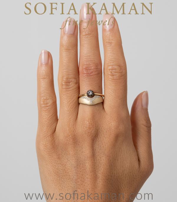 Matte Gold Unique Engagement Ring