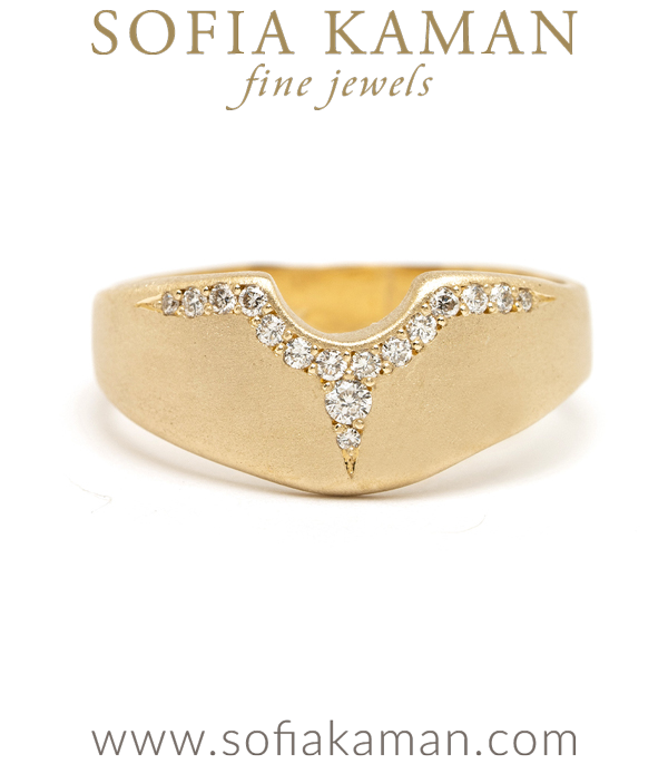 14K Matte Gold Shield Wedding Band for Unique Engagement Rings designed by Sofia Kaman handmade in Los Angeles using our SKFJ ethical jewelry process.