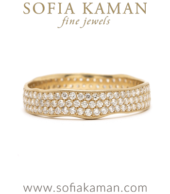 Pave Diamond Organic Texture Handmade Wedding Eternity Band made in Los Angeles
