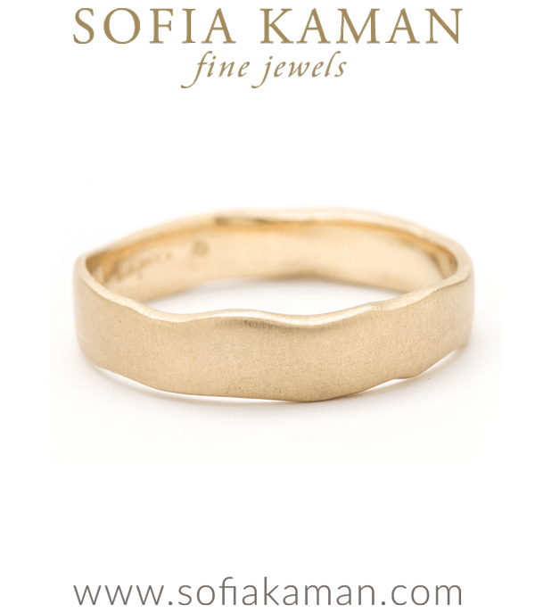 Gold Organic Torn Paper Handmade Bohemian Wedding Band designed by Sofia Kaman handmade in Los Angeles using our SKFJ ethical jewelry process.