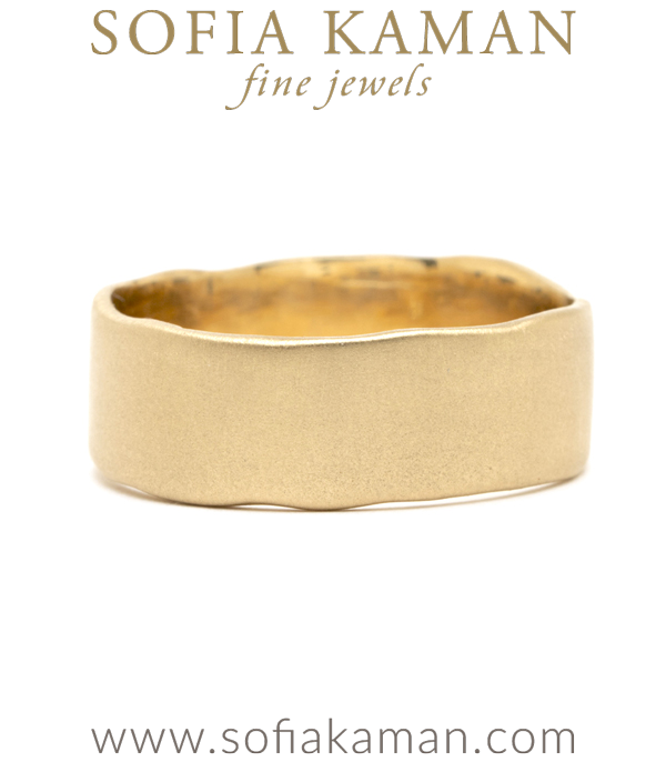 Matte Gold Torn Paper Edge Personalized Engraving or Engravable 7mm Boho Wedding Band designed by Sofia Kaman handmade in Los Angeles using our SKFJ ethical jewelry process.