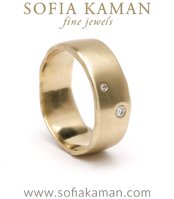 Boho Engagement Rings Large Gender Neutral 2 Diamond Boho Organic Edge Wedding Band for Unique Engagement Rings designed by Sofia Kaman handmade in Los Angeles