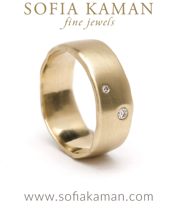 Large Gender Neutral 2 Diamond Boho Organic Edge Wedding Band for Unique Engagement Rings designed by Sofia Kaman handmade in Los Angeles using our SKFJ ethical jewelry process.