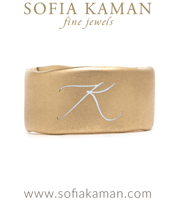 14K Gold Torn Paper Edge Wide Band Enamel Initial Unique Wedding Band designed by Sofia Kaman handmade in Los Angeles using our SKFJ ethical jewelry process.
