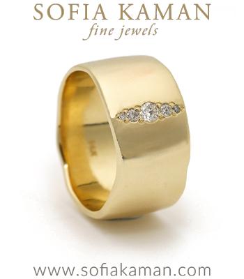Boho Engagement Rings 10mm Gender Neutral Diamond Stripe Organic Boho Wedding Band for Unique Engagement Rings designed by Sofia Kaman handmade in Los Angeles