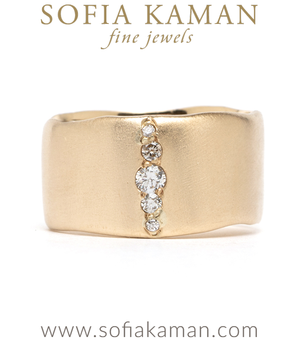 Gold Torn Paper Wedding Band With Pave Diamonds 10mm