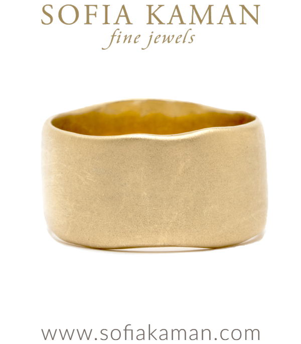 14K Gold 10mm Cigar Wedding Band For Women designed by Sofia Kaman handmade in Los Angeles using our SKFJ ethical jewelry process.
