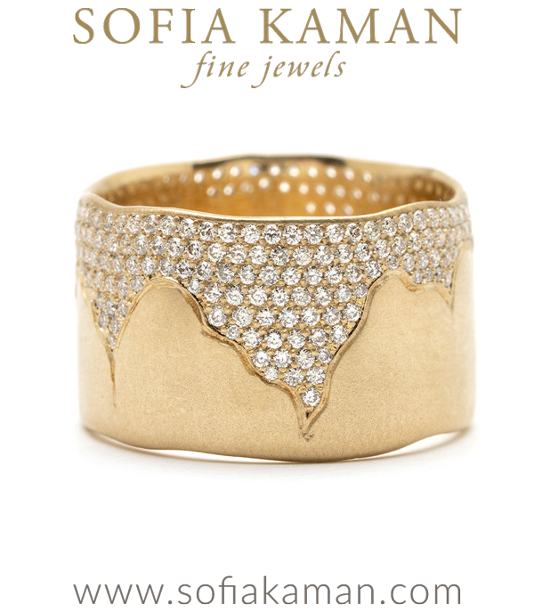 Organic Boho Pave Diamond Wide 12mm Natural Bohemian Wedding Band designed by Sofia Kaman handmade in Los Angeles using our SKFJ ethical jewelry process.