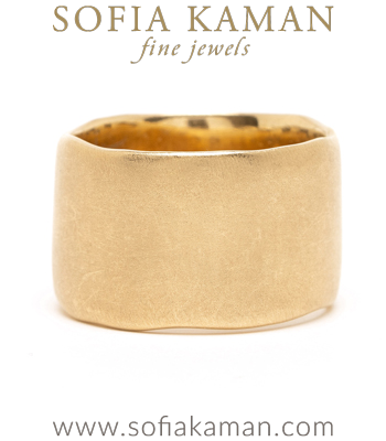 14K Gold Wide Wedding Band For Unique Engagement Rings designed by Sofia Kaman handmade in Los Angeles