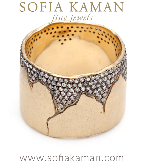 Organic Boho Blackended Pave Diamond Wide 15mm Natural Bohemian Wedding Band designed by Sofia Kaman handmade in Los Angeles using our SKFJ ethical jewelry process.