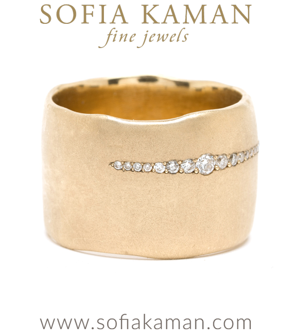 Wide Gold Band With Diamonds