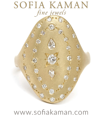 14K Gold Bohemian Diamond Oval Shield Signet Ring designed by Sofia Kaman handmade in Los Angeles