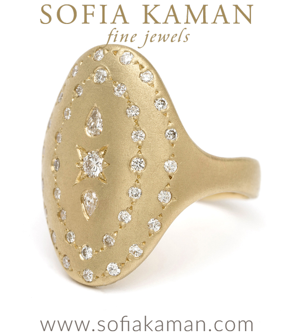 14k Gold Oval Shield Bohemian Diamond Signet Ring