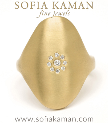 14K Gold Oval Shield Diamond Cluster Signet Ring designed by Sofia Kaman handmade in Los Angeles