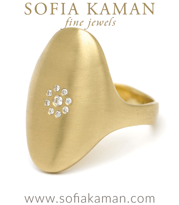 14k Gold Oval Shield Diamond Cluster Signet Ring