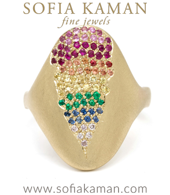 Rainbow Rings 14K Gold Oval Shield Rainbow Sapphire Emerald Diamond Bohemian Statement Ring designed by Sofia Kaman handmade in Los Angeles