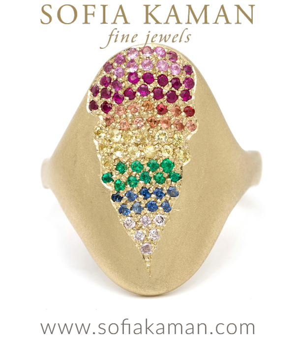 14K Gold Oval Shield Rainbow Sapphire Emerald Diamond Bohemian Statement Ring designed by Sofia Kaman handmade in Los Angeles using our SKFJ ethical jewelry process.