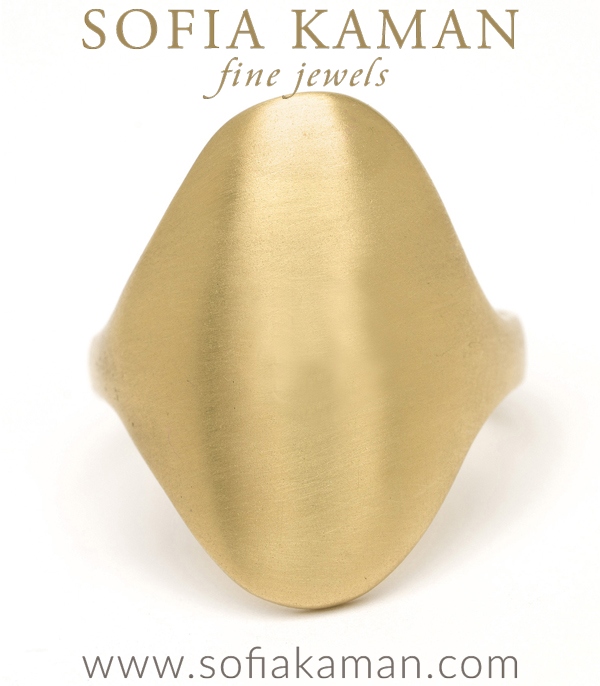 14k Gold Oval Engravable Shield Signet Ring designed by Sofia Kaman handmade in Los Angeles using our SKFJ ethical jewelry process.