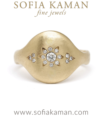 14k Matte Gold Bohemian Diamond Cluster Shield Ring designed by Sofia Kaman handmade in Los Angeles