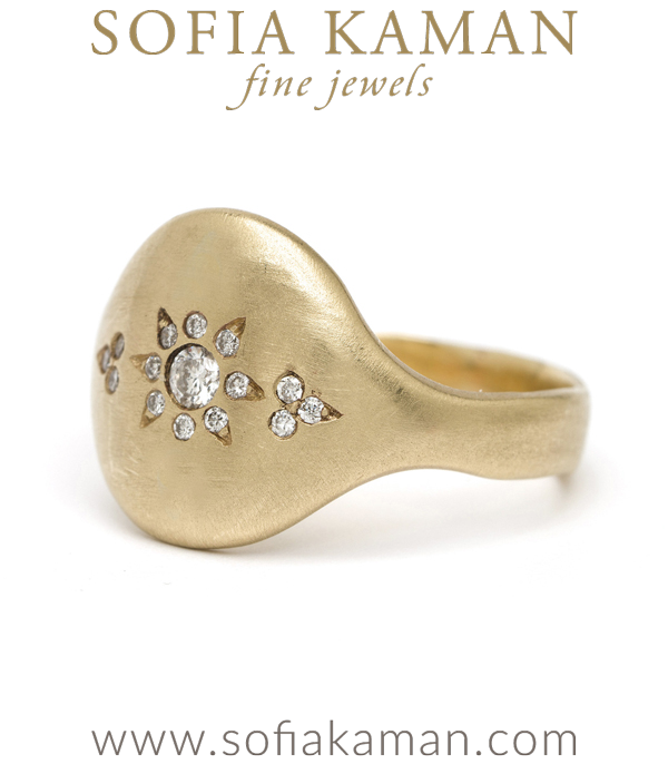 14k Matte Gold Round Bohemian Diamond Cluster Sheild Ring