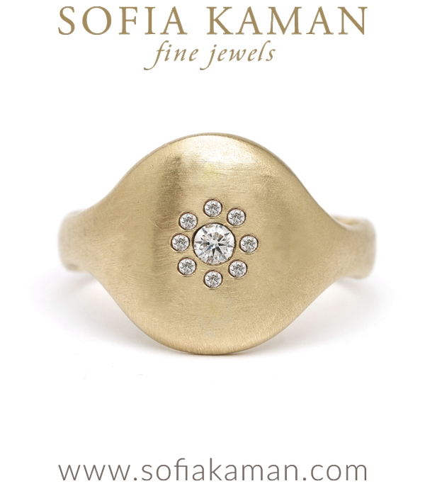 14k Matte Gold Diamond Cluster Round Shield Ring designed by Sofia Kaman handmade in Los Angeles using our SKFJ ethical jewelry process.