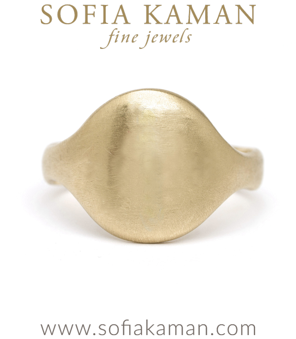 14k Matte Gold Engravable Round Shield Signet Ring designed by Sofia Kaman handmade in Los Angeles using our SKFJ ethical jewelry process.