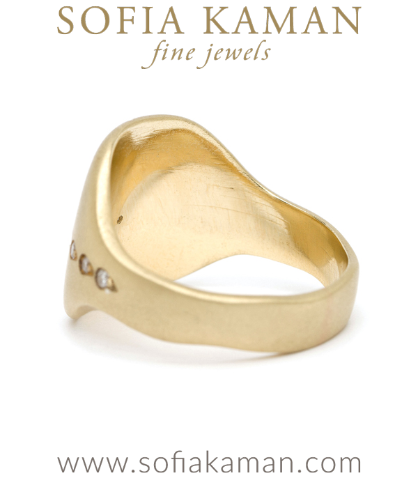 14k Gold Bohemian Diamond Shield Signet Ring
