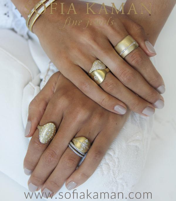 14k Gold Bohemian Diamond Shield Signet Ring