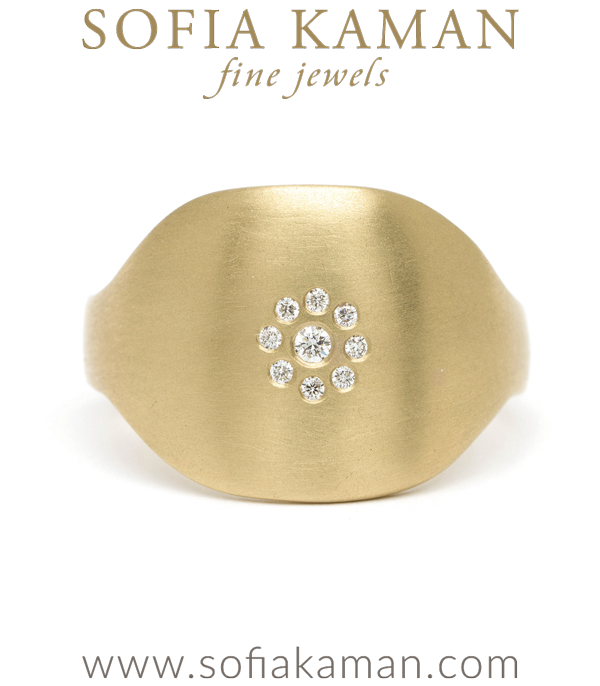14K Gold Petite Diamond Cluster Shield Ring designed by Sofia Kaman handmade in Los Angeles using our SKFJ ethical jewelry process.