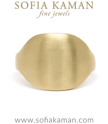 14k Matte Gold Engravable Shield Signet Ring designed by Sofia Kaman handmade in Los Angeles
